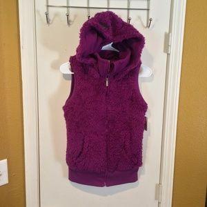 Kensie women's hood soft sherpa PURPLE hoodie vest